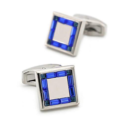 SJJY High-end Business Blue Crystal Mirror Cufflinks 2PC Men's French Shirt Ornament Diamond Metal Cufflinks