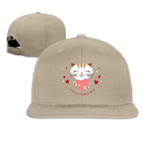 YUNLIHO Fashion Customized Valentines Day Heart Beat Cat Lover Flat Baseball Cap for Mans Natural ()