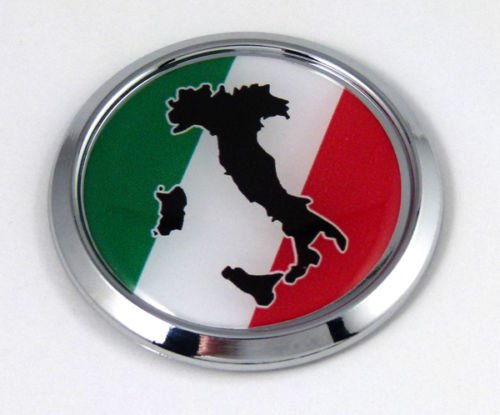 Italy Round Decal Italia Italian Flag Car Chrome Emblem Sticker Island outline ()