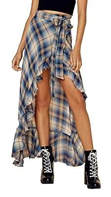 XiaoTianXin-women clothes XTX Womens Summer Mid Waist High Low Irregular Belted Beach Party Plaid Skirts