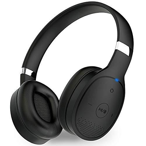1mii Audífonos Bluetooth Diadema, Auriculares Bluetooth 5.0 Inalámbricos on Ear, Audífonos Alámbricos con Cable de Audio 3.5mm y Micrófono, HiFi AptX LL, , Batería de 24h para PC, Tableta, Celular, Neg