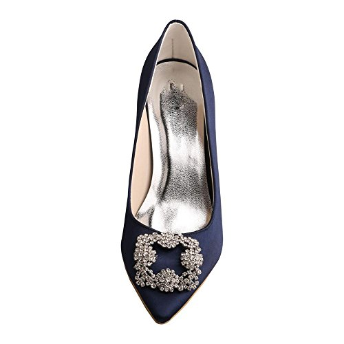 MW353 Party Toe Navy Pumps Satin Dress Stiletto Pointy Shoes Women's Heel Wedopus Wedding Bridesmaid Rhinestone fwqgdpg