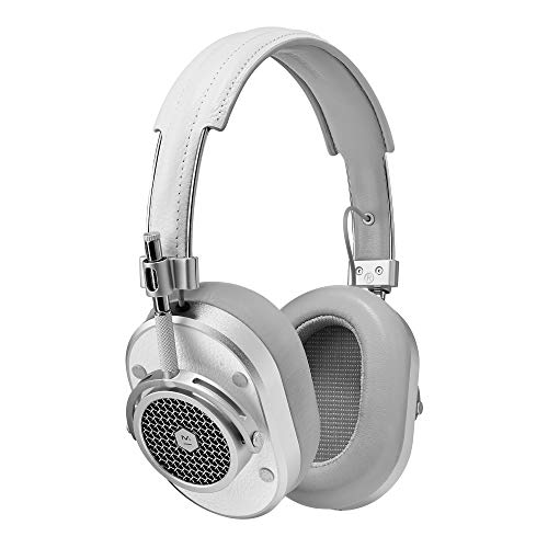 Master & Dynamic MH40 Premium Over-Ear Headphones, Award-Winning Closed-Back Wired Headphones with Superior Sound Quality, Silver Metal/White Leather
