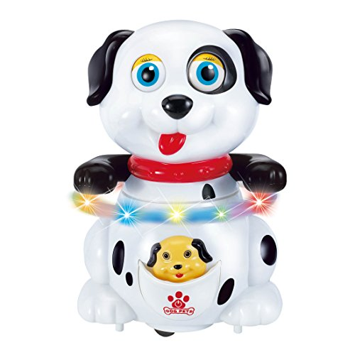 Alagoo Electronic Pet Dog Walking Dancing Singing Barking Robot Toy Dog with Music, Colorful Flashing Lights and Body Spinning Puppy Twirl Hula Hoop Dog Toy for Kids Toddlers Baby (White) 1yr Robot