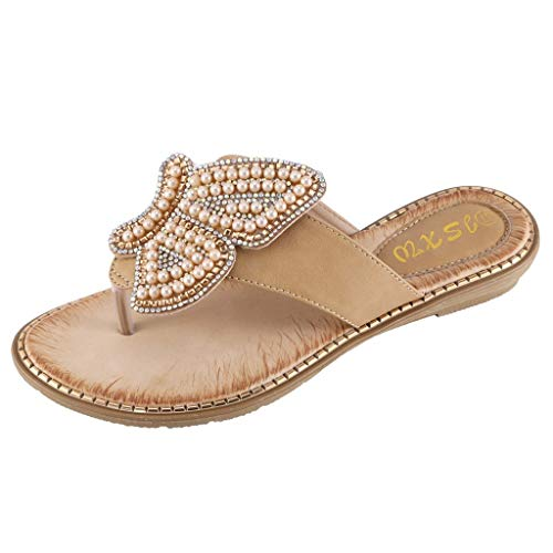 Tsmile Women Slippers Plus Size Summer Ladies Bohemia Pearl Butterfly Bling Crystal Flat Flip-Flops Beach String Bead -