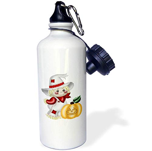 - 3dRose Anne Marie Baugh - Illustrations - Cute Smiling Scarecrow with A Pumpkin Illustration - 21 oz Sports Water Bottle (wb_317966_1)
