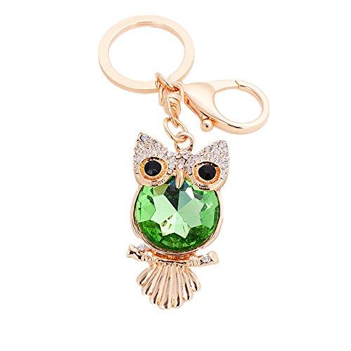 CHOP MALL Fashion Keychain Green Big Belly Owl Bling Bling Crystal Pendant Keyring Hanging Buckle Handbag Backpack Car Key Rings (Crystal Belly Owl)