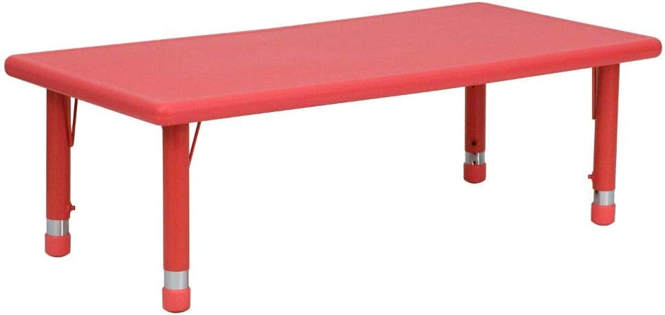 Flash Furniture 24''W x 48''L Rectangular Red Plastic Height Adjustable Activity Table