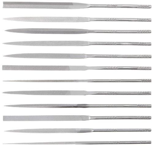Nicholson 12 Piece Needle File Set with Handles, Swiss Pattern, Double Cut, #2 Coarseness, 4