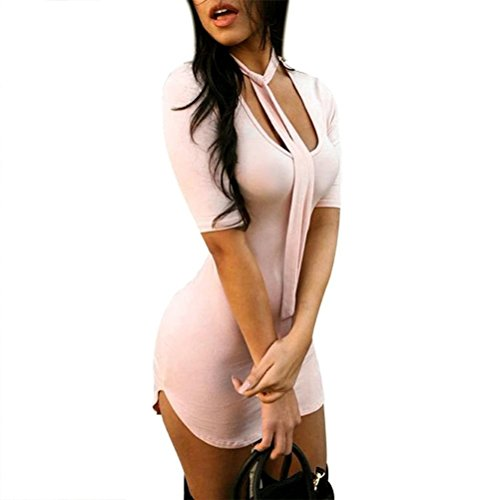 Kwok Dress, Women's Slim Fit Bodycon Half Sleeve Evening Party Cocktail Mini Dress (M)