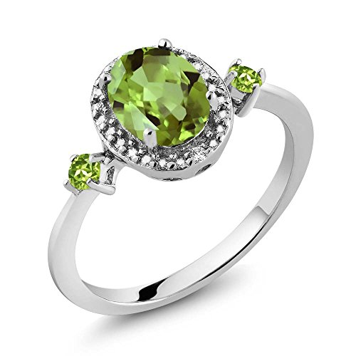 925 Sterling Silver Green Peridot & Diamond Accent Women's Ring 1.48 cttw (Size 7) -