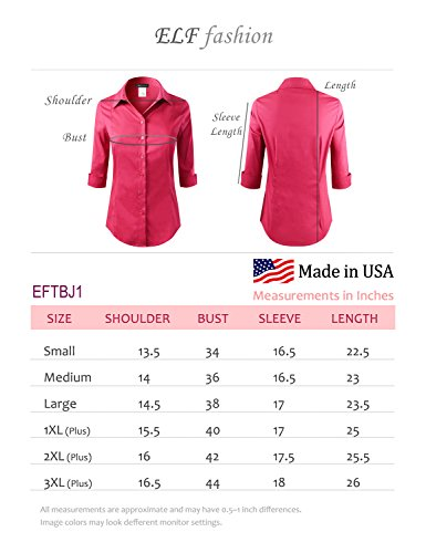 ELF FASHION Roll up 3/4 Sleeve Button Down Shirt for Womens Made in USA (Size S~3XL) White 3XL by ELF FASHION (Image #6)