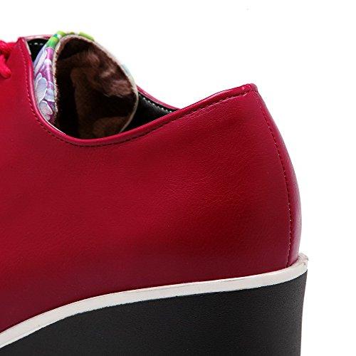 Punta Chiusa Rosso Materiale Lacci talloni Morbido Rotonda Pompe scarpe Femminile Allhqfashion Alto t1FHwSqx