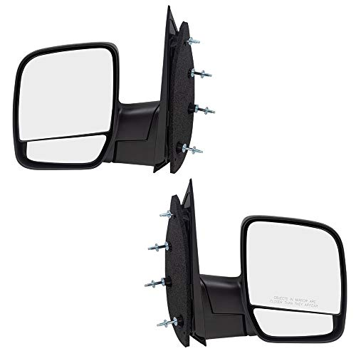 Driver and Passenger Manual Side View Mirrors Dual Glass Paddle Type Replacement for Ford Van 3C2Z17683FAA 3C2Z17682FAA