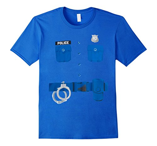 [Men's Police Officer T-Shirt Cop Halloween Costume  Medium Royal Blue] (Cop Costumes Tshirt)