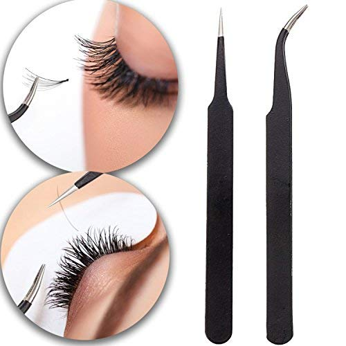 Best Quality Professional Set of 2 Black Anti Static Tweezers Including Straight & Curved For Make Up Eyelashes Extensions, Nail Art Rhinestones / Crystals Decorations And Handicrafts / Crafting By VAGA