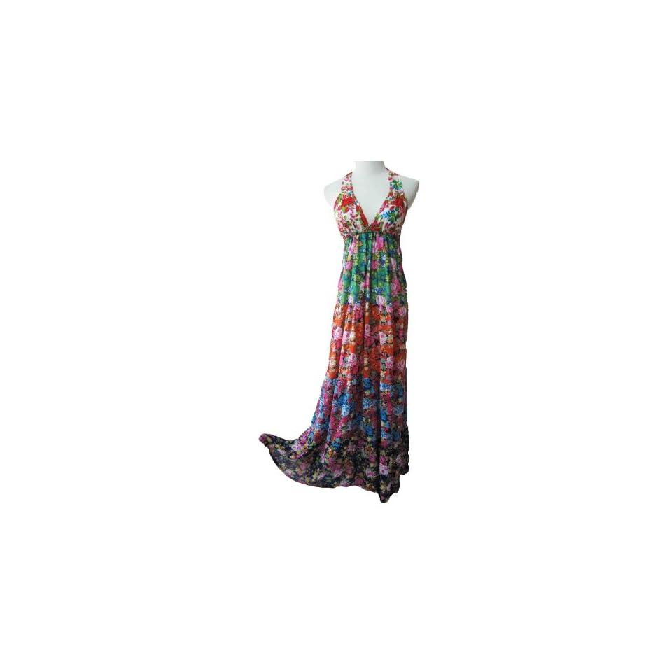 Boho Maxi 5 tier garden floral grecian halter tie hippie party beach dress