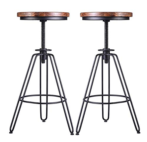 LOKKHAN Set of 2 Industrial Bar Stool-Vintage Adjustable Swivel Wood Metal Bar Stool-Rustic Farmhouse Stool-Cast Iron Kitchen Stool,24 inch Counter Height-30 Inch Bar Height,Fully Welded