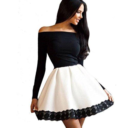 Women Casual Off Shoulder Dress,FUNIC Long