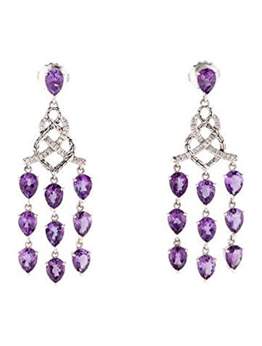 John Hardy Diamond Earrings (JOHN HARDY ST. SILVER DIAMOND AMETHYST CHANDELIER EARRINGS NEW BOX POUCH # 14E)