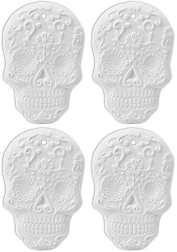 Day of The Dead Skull Ornaments - Set of 4 - Paint Your Own Ceramic Keepsake -