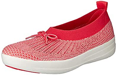 FITFLOP Womens Uberknit Slip-On Ballerina with Bow,Hot Coral/Neon Blush,5