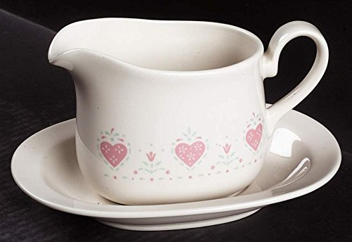 CORNING (Corelle) Forever Yours GRAVY Boat -no under plate-~ Pink Hearts, Beige Background~Discontinued: 1988-1994 (Beige Boat Gravy)