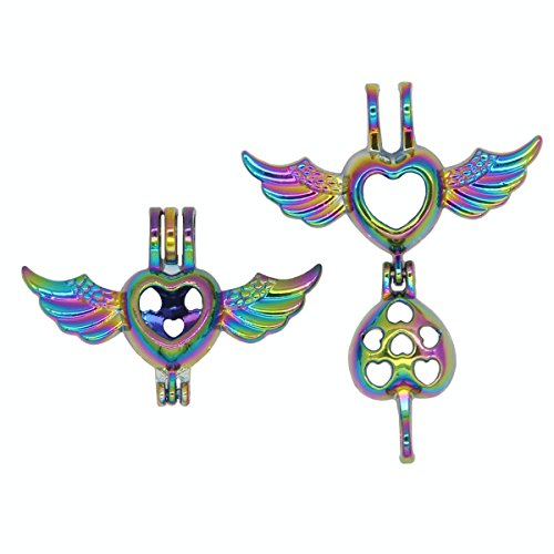 Bruins Heart - Bruin 10pcs Rainbow Colors Eagle Angel Wings Heart Pearls Cages Locket Pendant -Add Bead Stones Perfume Essential Oils to Create a Scent Diffuser Necklace Charms