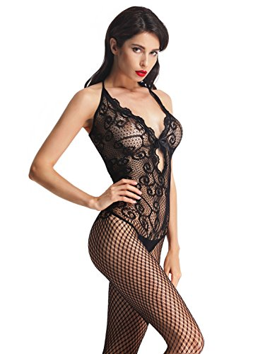 Amoretu Womens Sexy Lingerie Strap Bodysuits Crotchless Bodystocking (Body Stocking Lace)