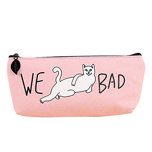 Tpingfe Bad Cats Kids Gift School Pencil Pen Case Cosmetic Makeup Storage Bag Purse (Pink) (Hello Kitty Table And Chairs For Toddlers)