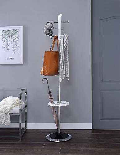 Benjara Benzara BM184781 Freestanding Coat Rack with Hooks and Umbrella Stand, White and Silver,