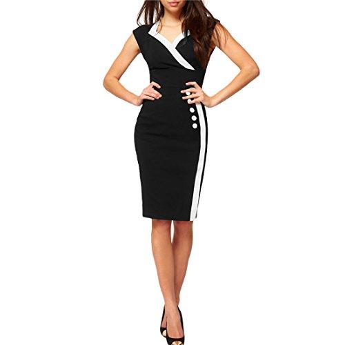 Missmay Women's Bodycon V-neck OL Cocktail Pencil Miusol Dresses Color Black Size XXL