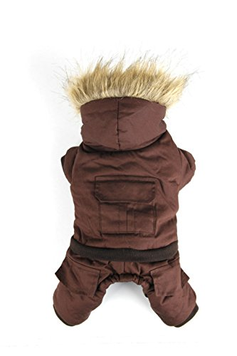 PAWZ Road Pet Clothes Hoodie Dog Winter Coat Warm Jacket Super Warm and Strong Brown XS