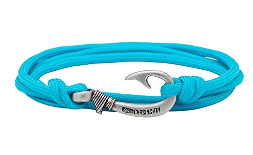 (Chasing Fin Adjustable Bracelet 550 Military Paracord with Fish Hook Pendant, Turquoise)