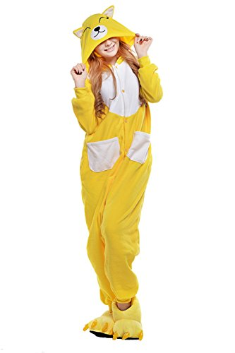 [Datangep Adult Unisex Animal Cosplay Onesies Pajamas Yellow Fox S] (One Night Stand Costume For Girls)