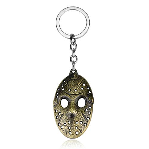 Dan's Collectibles and More Jason Friday The 13th Keychain Key Chain Hockey Mask Halloween Horror Movie Killer Pendant w/Gift Box (BronzeMask) -