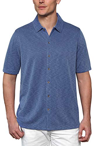 Woody's Retro Lounge Men's Comfort Camp Shirt - Full Button-Front Closure Short Sleeve (Royal Blue, Large) (Front Mens Button Shirt)