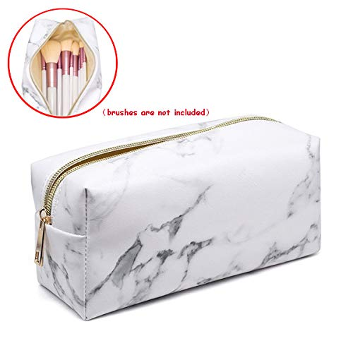 9811afb2ef58 Mikey Store Marble Makeup Bag Organizer, Portable PU Cosmetic Pouch Travel  Brush Holder Pencil Storage Case for Women (7.5