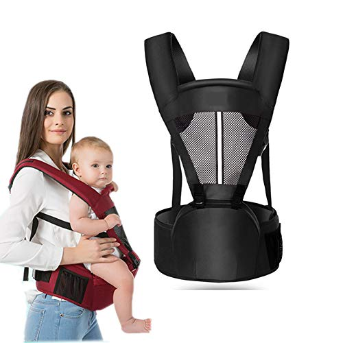 Kaipiclos Baby Carrier with Hip Seat for Newborn Infant and Toddler, Ergonomic Baby Wrap Carrier Backpack (0-48 Months) (Black, OneSize)