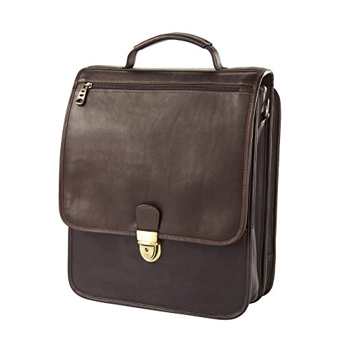 Vachetta Upright Vertical Leather Brief (Cafe)