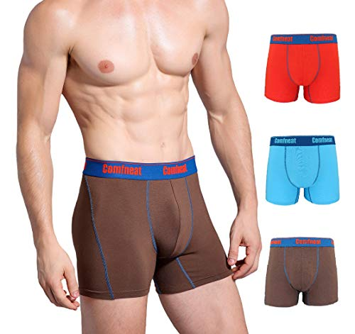Comfneat Soft Bamboo Spandex Men's Boxer Briefs 3 Pack Breathable Underwear (Light Blue/Red/Brown, L)