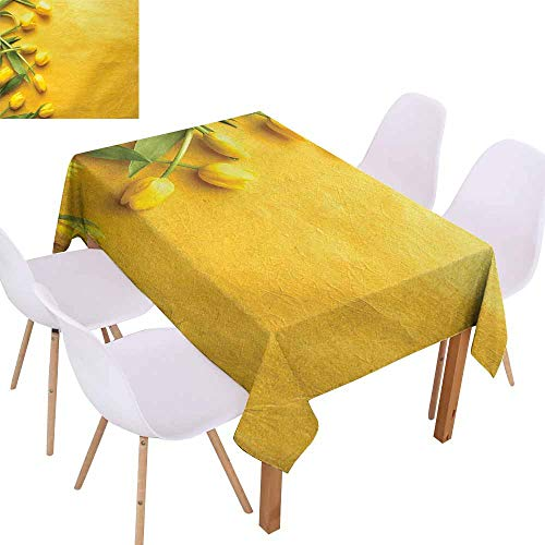 UHOO2018 Yellow,Printed Tablecloth,Danish Dutch Tulips on Colored Wall Garden Floral Love Lily Herbs Decor Artprint,Easy Care and Durable,Yellow -