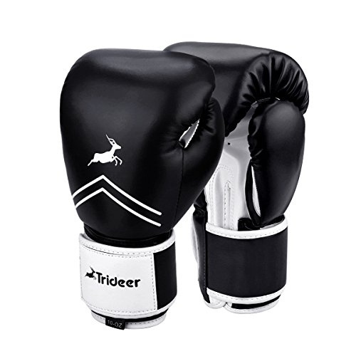 Trideer Essential Gel Boxing Kickboxing Training Gloves (Black & White, 16 oz)