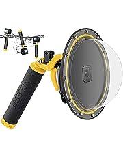 enSkate Dome-poort voor GoPro Hero 9 Zwart, onderwaterduikkoffer Cameralensbeschermer met waterdichte behuizing Koffer, pistooltrekker, zwevende handgreep, anti-condens inzetstuk voor Go Pro 9-accessoires