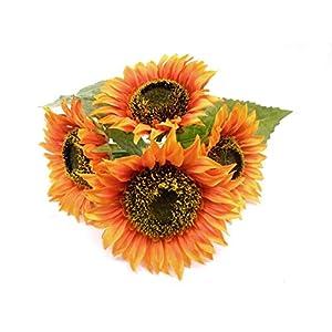 "Phoenix Silk Sunflowers Bush Artificial Silk Flowers 4-80096OR 11"" Bouquet Orange 88"