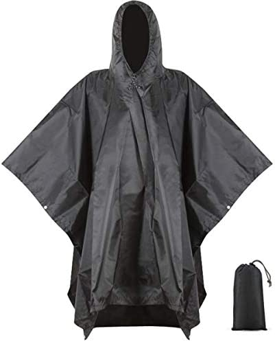 Bearhard Rain Poncho for Adults Bulk Reusable Waterproof Lightweight Rain Cape with Hood Multifunctional Rain Coat for Outdoor Activities Used as Camping Tarp, Hiking Shelter