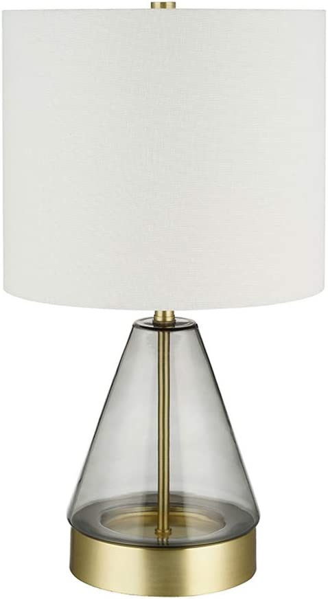 "Rivet Modern Glass Table Lamp with Bulb, 16.63""H, Smoked Gray and Brass"
