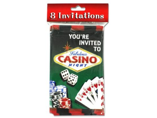 (Casino night party invitations, pack of 8 )
