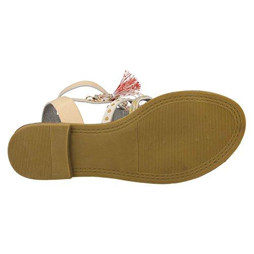 Beaded Beige Ladies Sandals Strappy Savannah Flat q8ntnY
