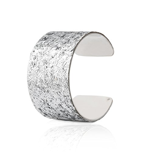 VUJANTIRY Stainless Steel Paved Sequins Bracelet Wide Open Bangle Cuff Bracelet for Women Gold/Silver -